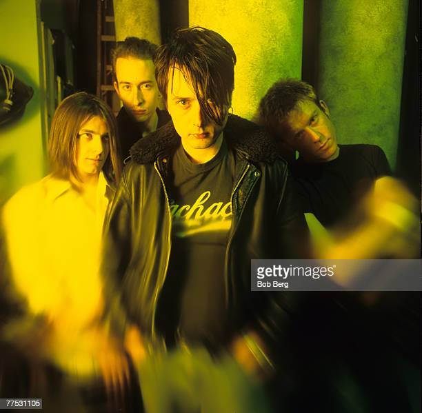 T he English rock band Suede lead guitarist Bernard Butler bassis Mat Osman lead vocalist Brett Anderson and drummer Simon Gilbert pose for a...