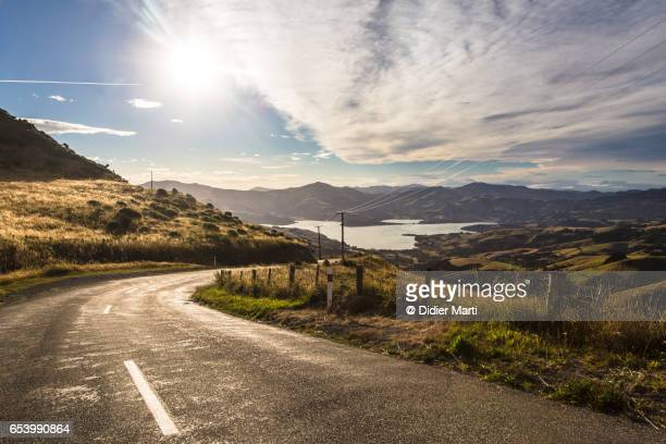 he famous summit road in the Banks peninsula in New Zealand