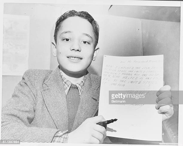 He Finally Made It New York New York George Kurtossy shows the letter he wrote and is sending to President Harry Truman to thank him and all those...