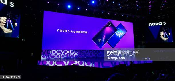 He Gang president of Huawei's consumer business mobile phone product line introduces Huawei Nova 5 smartphone during a new product launch event on...