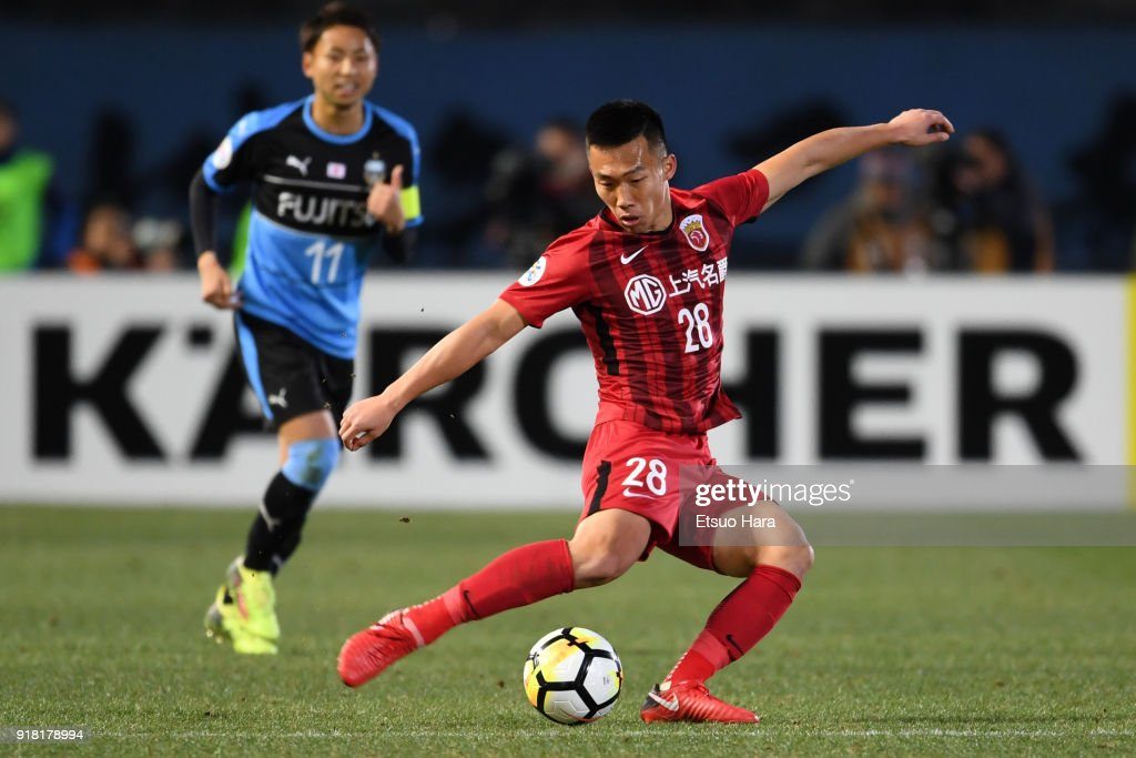 He Guan of Shanghai SIPG in action during the AFC Champions League Group F match between Kawasaki Frontale and Shanghai SIPG at Todoroki Stadium on February 13, 2018 in Kawasaki, Kanagawa, Japan.