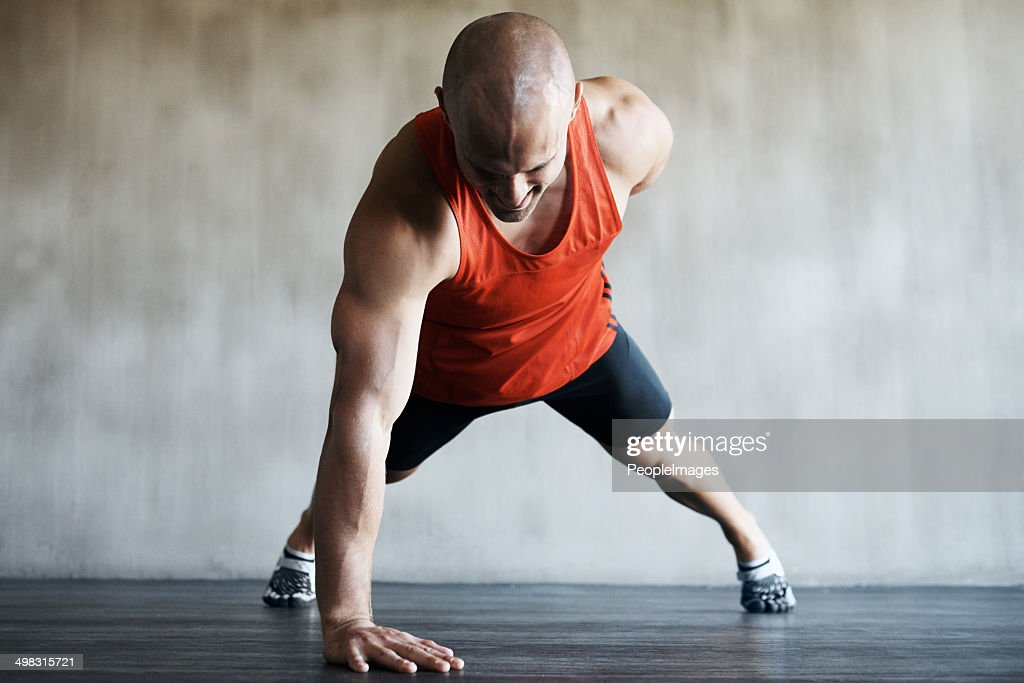He has the correct drive to get stronger : Stock Photo
