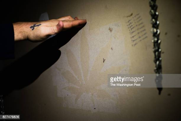 He hung a giant marijuana leaf on the wall of his shed which left a mark on the wall Johnsie Gooslin was arrested in 2015 for growing marijuana in...
