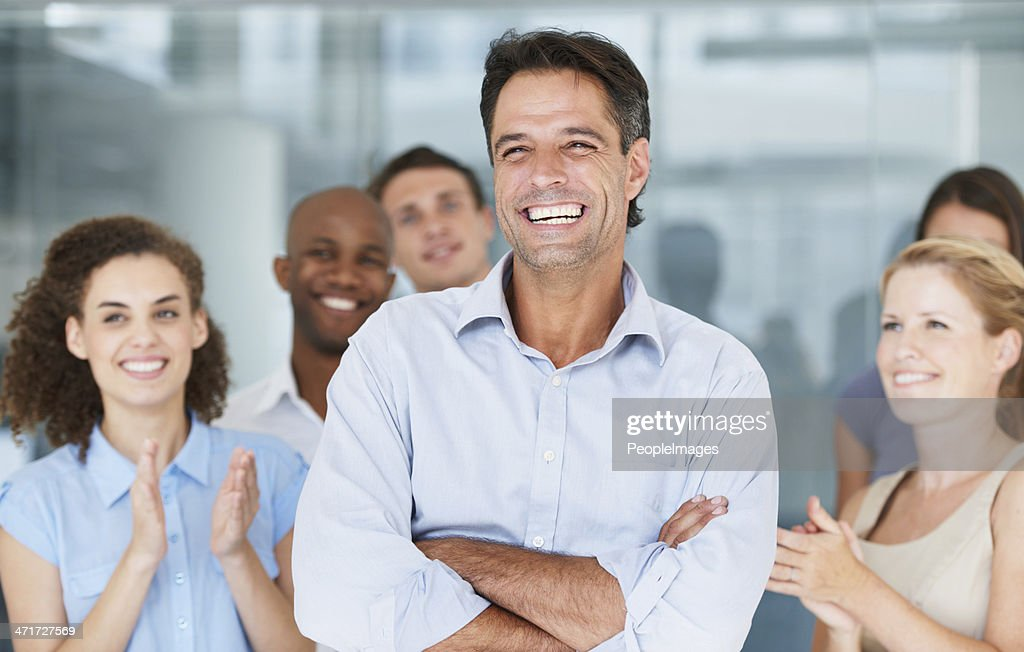 He is a fantastic leader! : Stock Photo