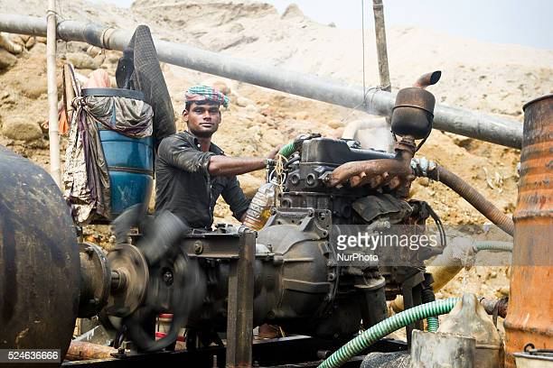 He is the only operators in this extraction site who operates these shallow machines in Jaflong Sylhet Bangladesh on February 28 2015 Sylhet is a...