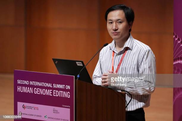 He Jiankui associate professor at the Southern University of Science and Technology of China speaks at the Second International Summit on Human...