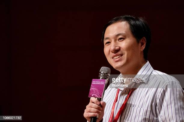 He Jiankui associate professor at the Southern University of Science and Technology of China speaks during a panel discussion at the Second...