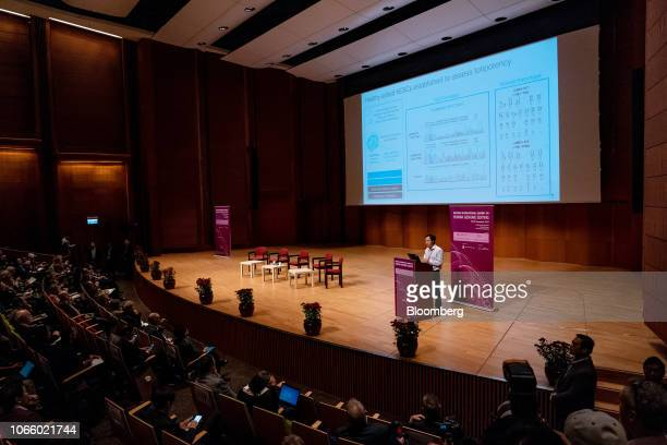 He Jiankui associate professor at the Southern University of Science and Technology of China presents a slide during a speech at the Second...