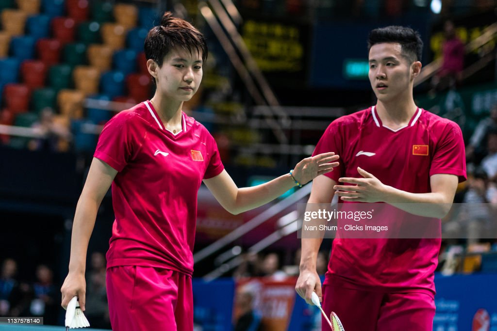 He Jiting and Du Yue from China during the Badminton Asia