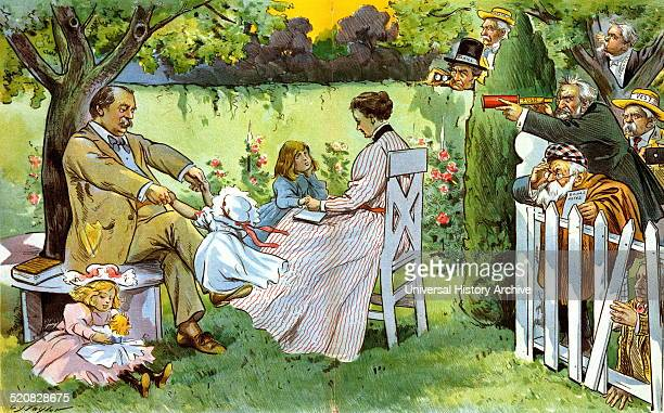 He keeps them worried' Former president Grover Cleveland and his wife Frances playing with their children Ruth Esther and Marion in the backyard of...