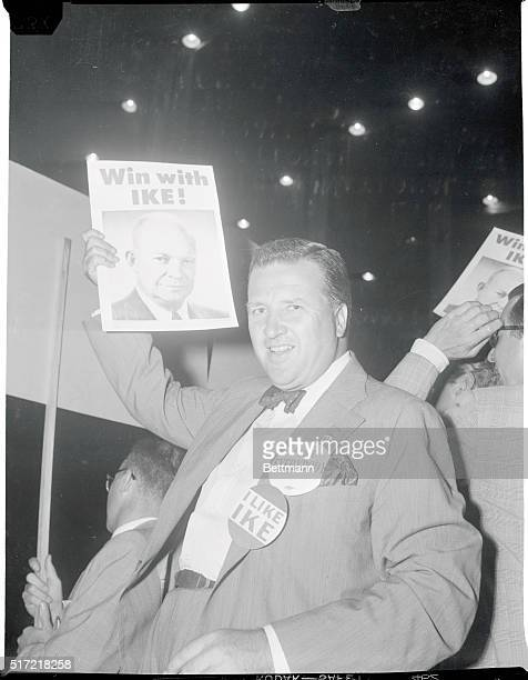 He likes EverybodyChicago Automotive magnate Henry Ford Jr waves a campaign poster for General Dwight Eisenhower as well as a similar campaign button...