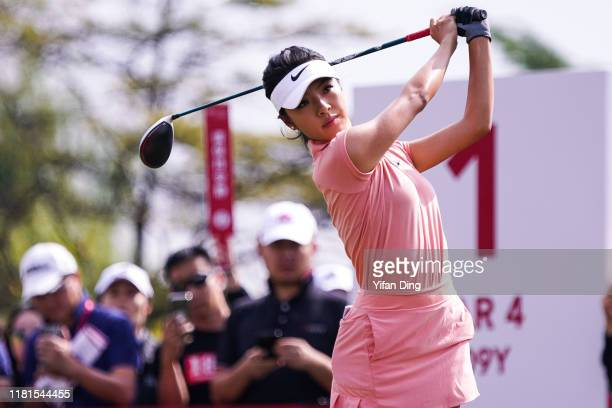 He Muni of China drives from the tee during Round 1 of Buick LPGA Shanghai 2019 at Shanghai Qizhong Garden Golf Club on October 17 2019 in Shanghai...