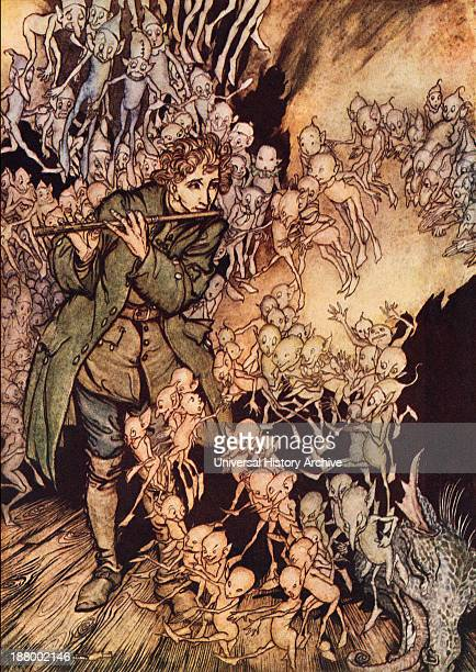 He Played Until The Room Was Entirely Filled With Gnomes Illustration By Arthur Rackham From Grimm's Fairy Tale The Gnome Published Late 19Th Century