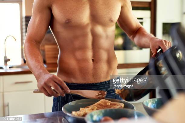he prefers home made breakfast - shirtless stock pictures, royalty-free photos & images