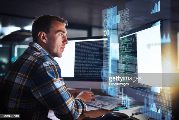 he puts the pro in programmer - information technology support stock photos and pictures