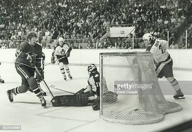 He scores Canadiens' defenceman Larry Robinson was parked as usual near Leaf goal to tip in a pass from Rejean Houle to open scoring in exhibition...