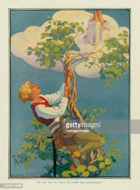 He Set out at once to climb the beanstalk, from Stoke's Wonder Book of Fairy Tales, pub. 1917 , 1917. Scene from Jack and the Beanstalk. Artist...