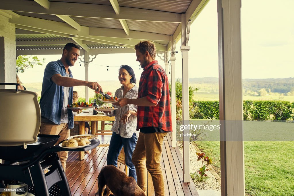 He sure knows how to host a lunch : Stock Photo