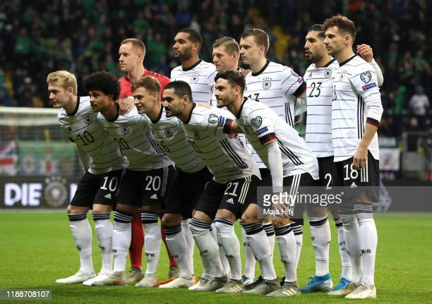 he team of Germany with MarcAndre ter Stegen Jonathan Tah Toni Kroos Lukas Klostermann Emre Can Leon Goretzka Julian Brandt Serge Gnabry Joshua...