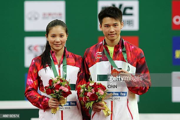 He Zi and Chen Aisen of China win champion during the Mixed diving 3 m platform on day two of FINA/NVC Diving World Series 2015 at National Aquatics...