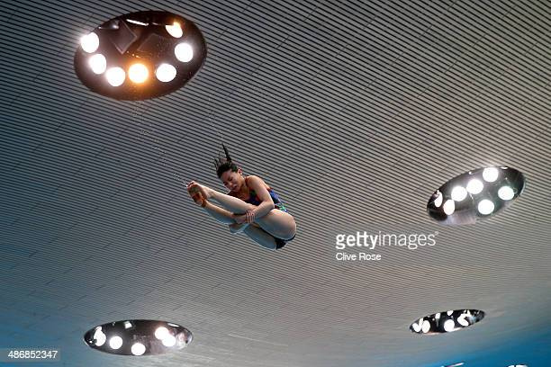 He Zi of China dives during a training session prior to competition on day two of the FINA/NVC Diving World Series at the London Aquatics Centre on...