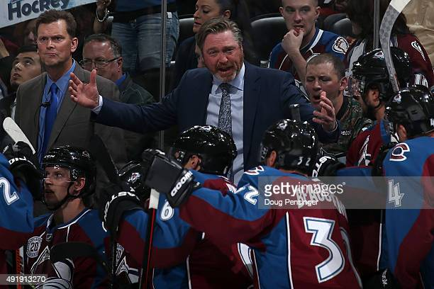 Heac coach Patrick Roy of the Colorado Avalanche directs his team during a time out against the Minnesota Wild at Pepsi Center on October 8 2015 in...