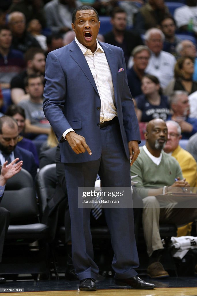 Heach coach Alvin Gentry of the New Orleans Pelicans reacts during the first half of a game against the Atlanta Hawks at the Smoothie King Center on November 13, 2017 in New Orleans, Louisiana.
