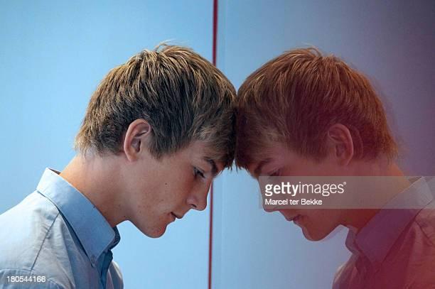 Head against mirror
