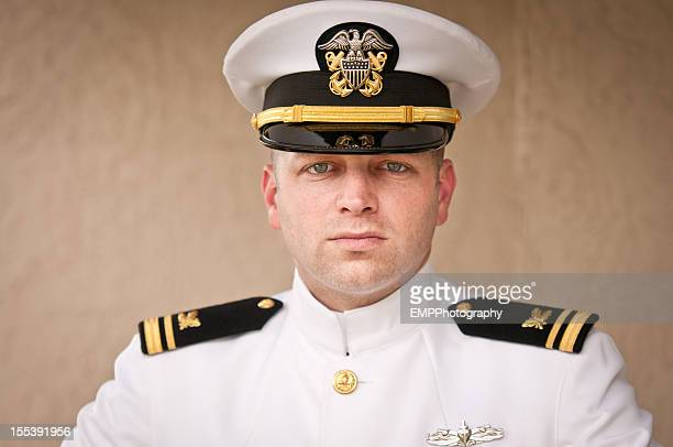 head and shoulder portrait of  caucasian naval officer in uniform - navy stock pictures, royalty-free photos & images