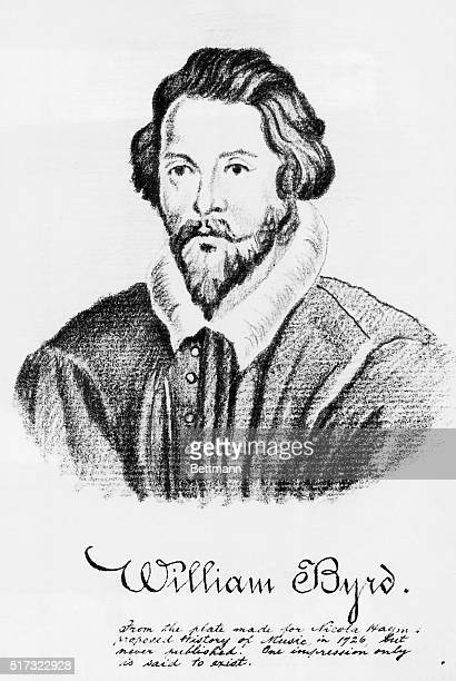 Head and shoulder portrait of English composer and organist William Byrd