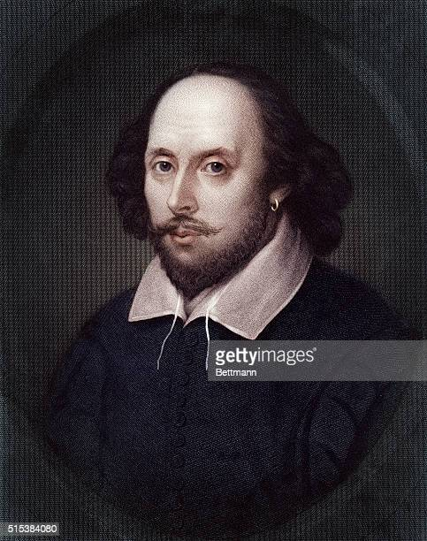 Head and shoulder portrait of English playwright, William Shakespeare . Undated illustration.