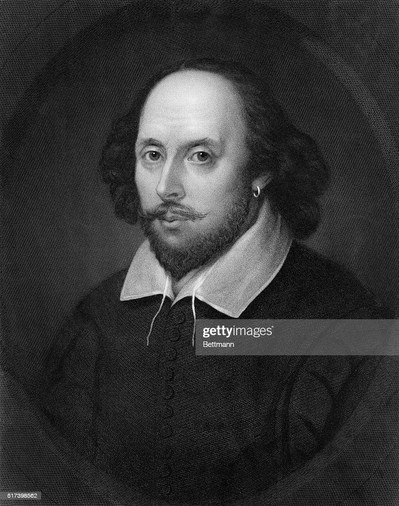 Head and shoulder portrait of English playwright, William Shakespeare (1564-1616). Undated illustration.