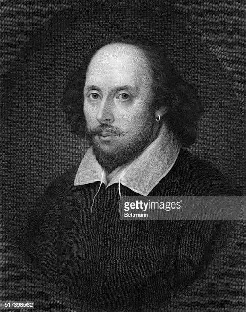 Head and shoulder portrait of English playwright William Shakespeare Undated illustration