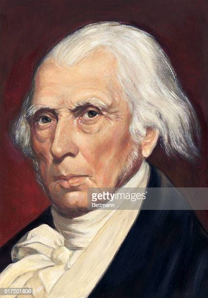 Head and shoulder portrait of James Madison fourth President of the United States After a painting