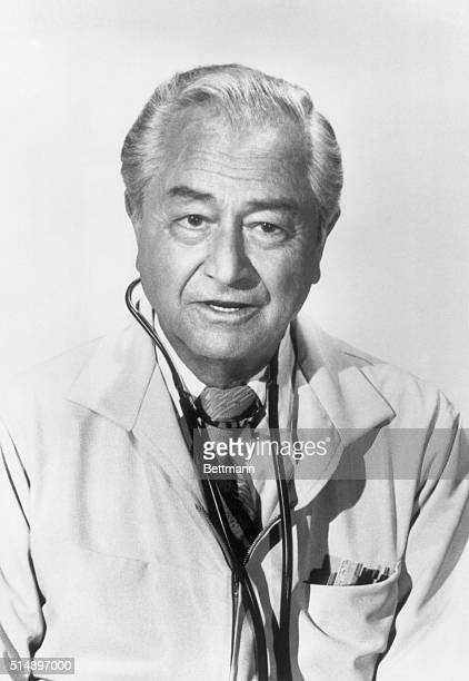 Head and shoulders photo of Robert Young shown here with a stethoscope who stars as Dr Marcus Welby the compassionate family practitioner and...