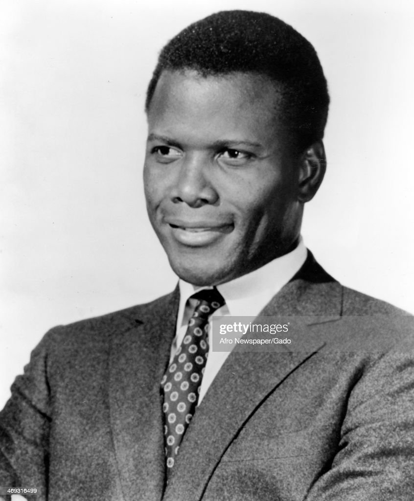 A head and shoulders portrait of actor Sidney Poitier, 1970.