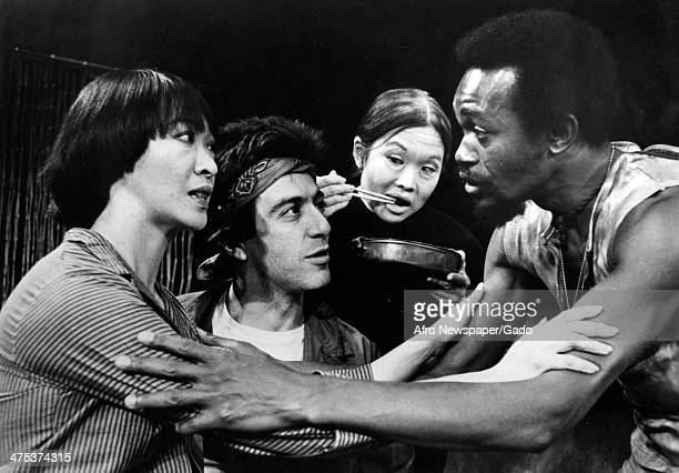 A head and shoulders portrait of actors from left to right Tisa Chang Al Pacino Anne Miyamato and Don Blakely on stage performing in the Broadway...