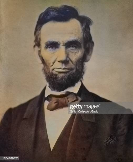 Head and shoulders portrait of American president Abraham Lincoln, 1863. Courtesy Library of Congress. Note: Image has been digitally colorized using...
