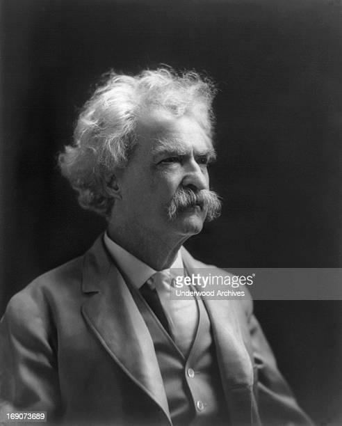 A head and shoulders portrait of author Mark Twain mid to late 1900s