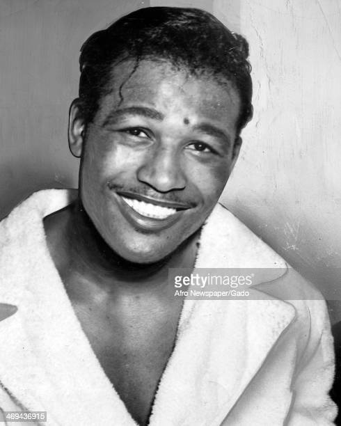 A head and shoulders portrait of boxing champion Sugar Ray Robinson after his victory over Bobo Olsen April 19 1952