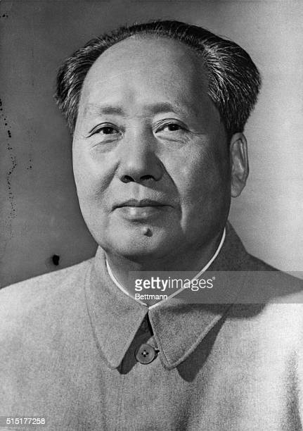 Head and shoulders portrait of Chinese Communist leader Mao Tse-Tung . Undated photograph.
