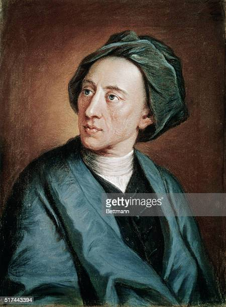 Head and shoulders portrait of English poet Alexander Pope Painting by W Hoare