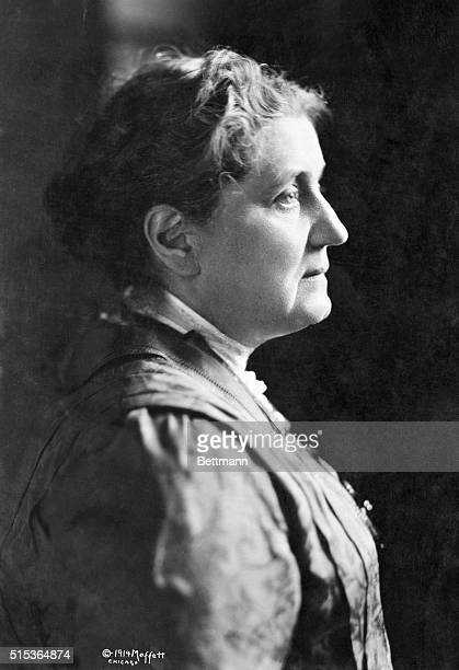 Head and shoulders portrait of Jane Addams American social settlement worker and peace advocate