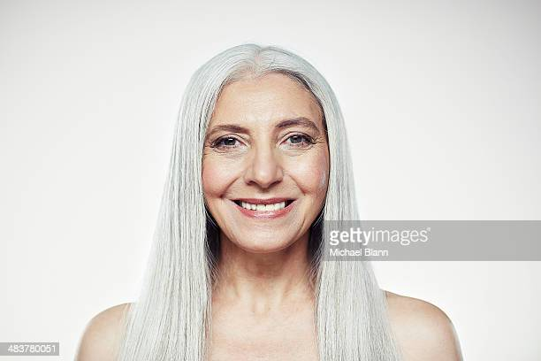 head and shoulders portrait of mature woman - grey hair stock pictures, royalty-free photos & images