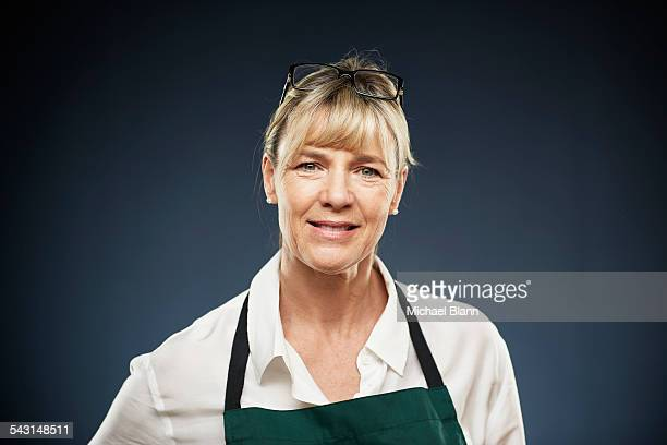 head and shoulders portrait - apron stock pictures, royalty-free photos & images