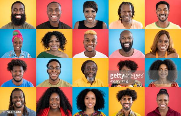 head and shoulders portraits of diverse black people smiling - african ethnicity stock pictures, royalty-free photos & images