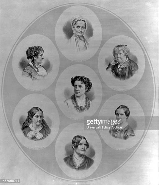 Head and shoulders portraits of seven prominent figures of the suffrage and women's rights movement Mott Lucretia Greenwood Grace Stanton Elizabeth...