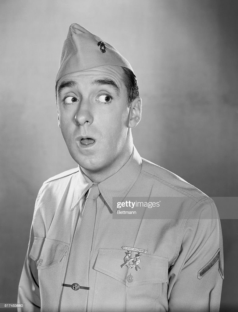 Head and shoulders publicity photo of Jim Nabors as television's Gomer Pyle. Nabors wears a United States Marine Corp Uniform.
