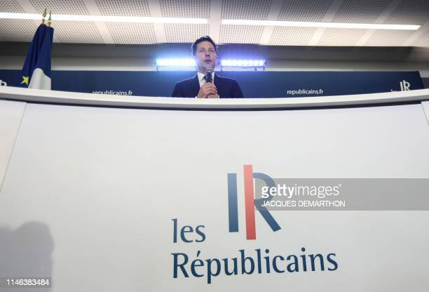 Head candidate of the French right-wing Les Republicains list Francois-Xavier Bellamy reacts after the announcement of initial results during an LR...
