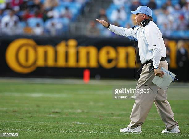 Head caoch John Bunting of the University of North Carolina at Chapel Hill Tar Heels reacts during the Continental Tire Bowl against the Boston...